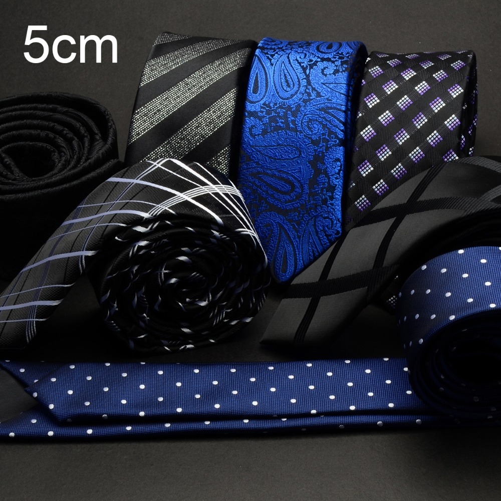 GUSLESON Men Tie 5cm Skinny Ties Luxury Waterproof Striped Plaid Neckties Corbatas Gravata Jacquard Man's Wedding Dress Slim Tie