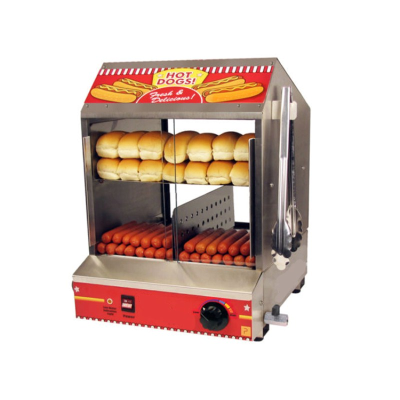 UK Stock Commercial 110V 220V Countertop Electric Hot Dog And Bread Steamer Warmer Display Showcase high quality hot dog display showcase food warmer stainless steel bread sandwich countertop tool