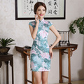New Summer Vintage Traditional Chinese Women Short Sleeve Cheongsam  Female High Neck Qipao Unique Party Evening Dresses
