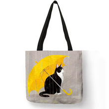 Customized Cartoon Kitty Cat Print Tote Bag For Women Reusable Shopping Bags Folding Travel School Bags Pouch(China)