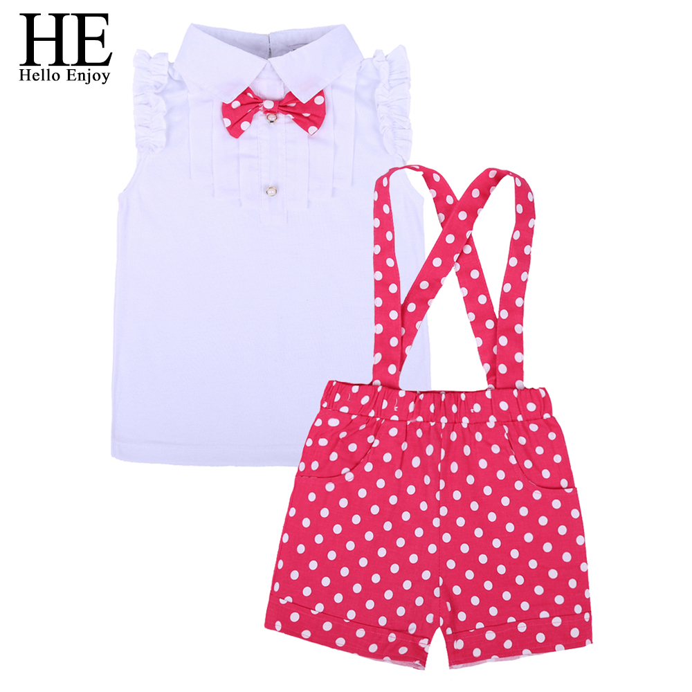 HE Hello Enjoy kids clothes girls summer 2016 girls clothing sets toddler girl clothing T-shirt + dot pants children clothing