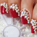 3 Size White AB Flat Back Coated Pearl Bead Rhinestone Nail Art Decoration wheel
