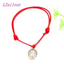 Hot ! 20 pcs Adjustable Bracelets ST.JUDE Antique silver Alloy Charm Red Waxes rope Bracelet B-031