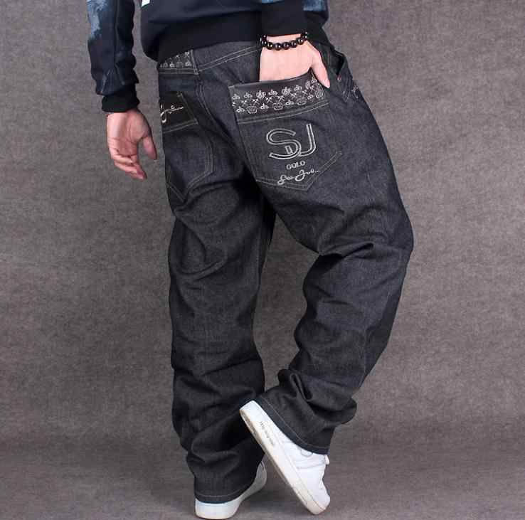 Mode Tij Jeans 2019New Mens Losse Leisure Big Size 42 44 Hip Hop Man Jeans Plus Size Cowboy Denim broek mannen