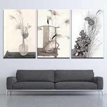 Gray Plant Flowers Leaves Chinese Minimalist Art Canvas Poster Painting Abstract Wall Picture Print Modern Home Room Decoration my43 xdzs 22 23 2pcs chinese bird plant flowers print art
