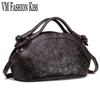 VM FASHION KISS Women Large Totes Retro Genuine Leather Embossed High Quality Oil Wax Leather Messenger