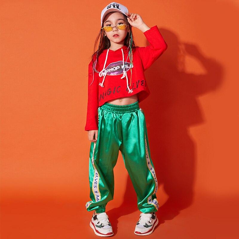 Costumes de danse Hip Hop pour enfants vêtements de danse de rue pour enfants hauts rouges et pantalons verts tenue de scène de danse Jazz DQS1032