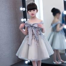 2017 New Korean Cute Children Girls Bow Princess Lace Dress Kids Sweet Birthday Wedding Party Dress