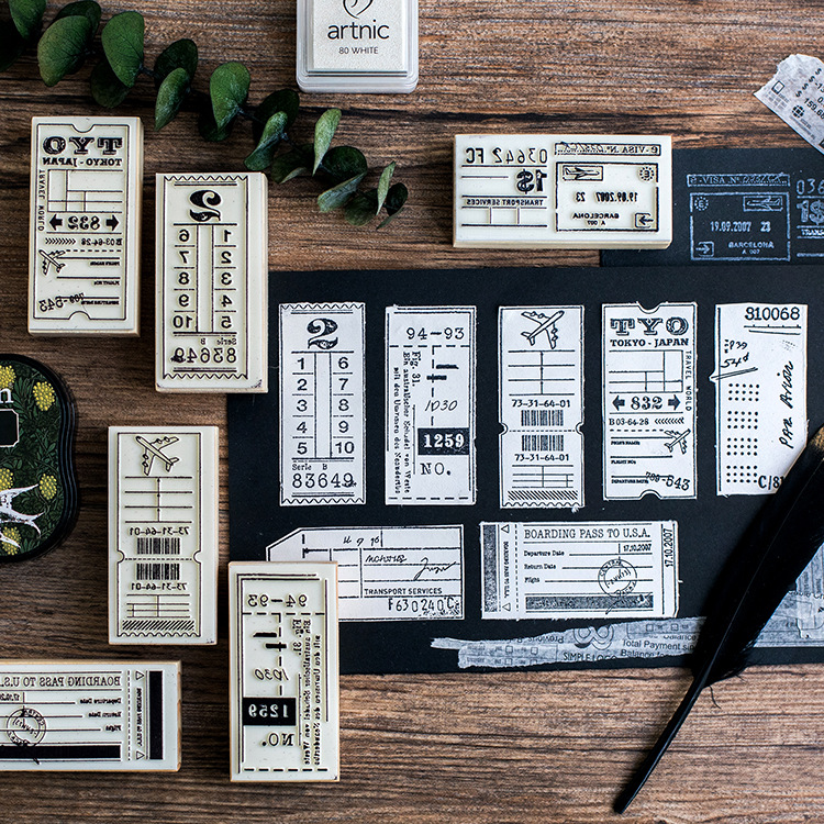 Label Recording Wooden DIY Stamp Set Student Prize Promotional Gift Stationery цена
