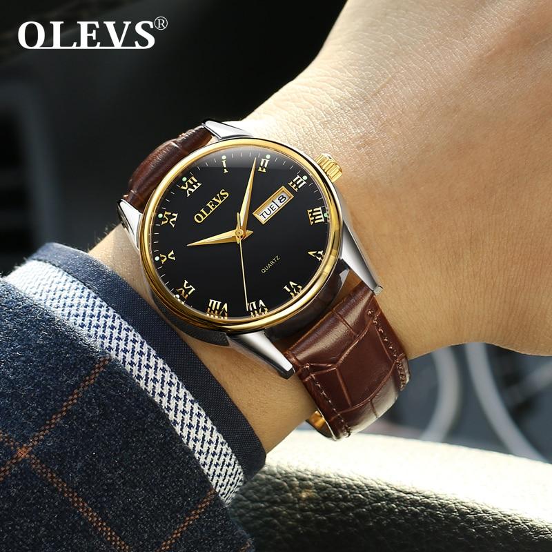 d64b7399c19 Olevs relogio masculino relógios dos homens de Luxo de marcas famosas  homens relógio relógios De Pulso De Couro quartz watch zegarek horloges  mannen