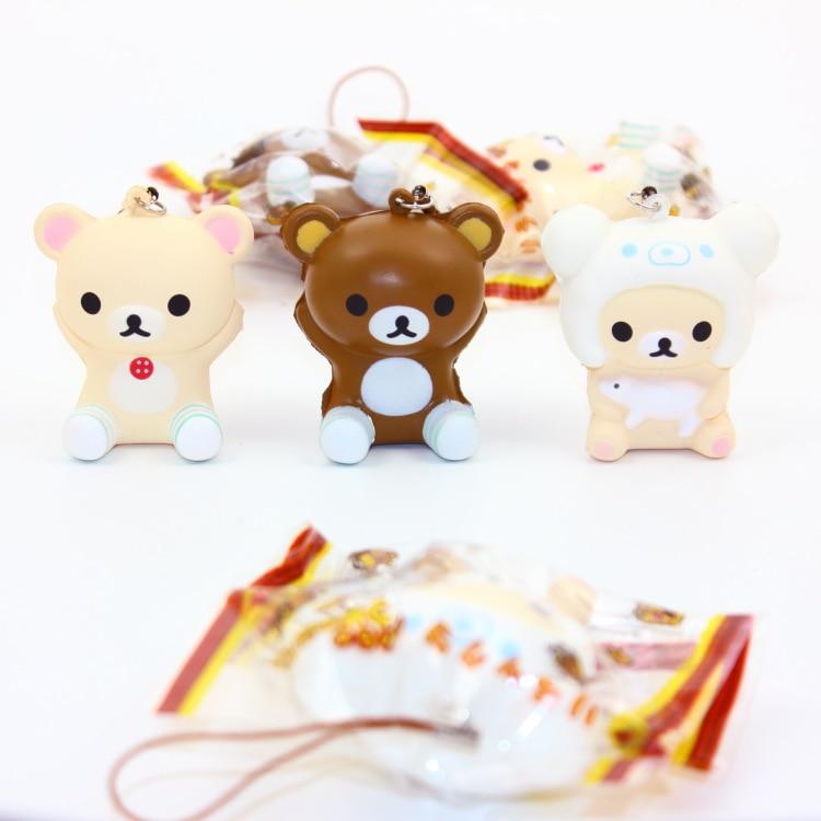 6cm Originalpackung weich duftender Kawaii Rilakkuma Squishy Quezeze Spielzeug Handy Anhänger Squishies Brot Bär