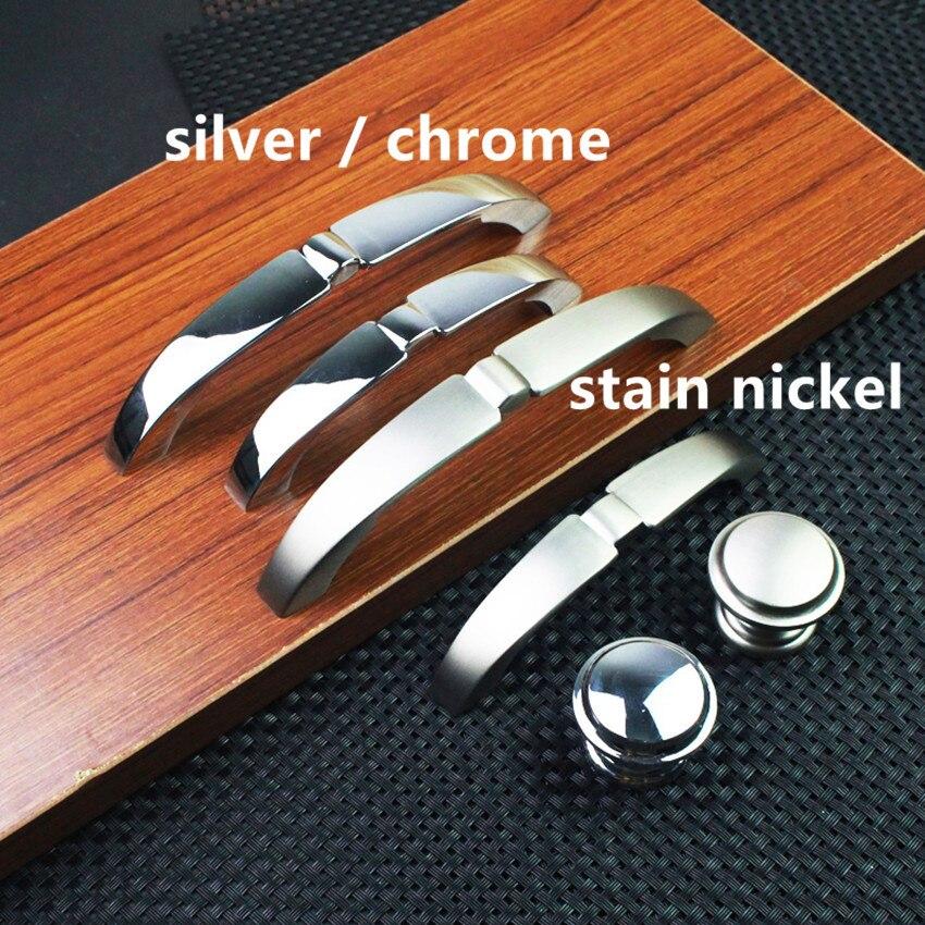 96mm 128mm argent chrome commode poignée bouton tache nickel tiroir armoire bouton tirer 5