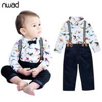Baby Boy Clothing Set 2016 New Gentleman Dinosaur Print Clothes For Infant Baby Bow Tie Shirt