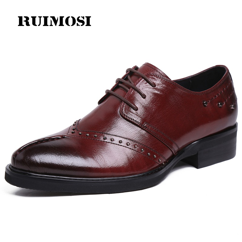 RUIMOSI Handmade Man Studded Brogue Shoes Genuine Leather Bridal Oxfords Pointed Toe Platform Men's Dress Flats For Wedding EI47