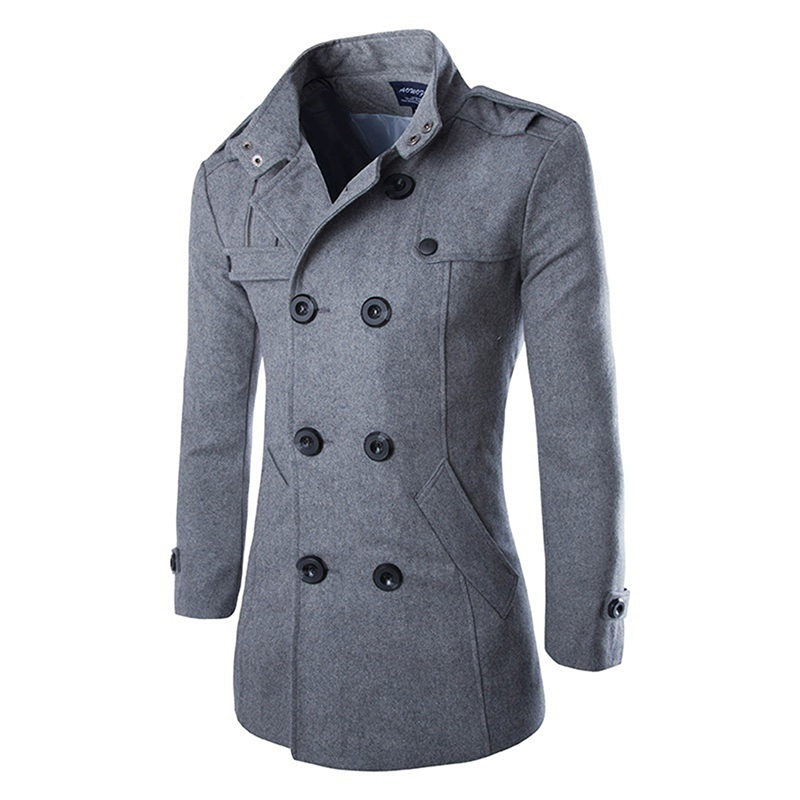 Man Spring Autumn Coat Fashion Turn-down Collar Wool Blend Men Pea Coat Double Breasted Winter Overcoat abrigo estilo ingles hombre