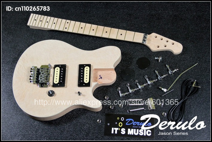 цены DIY Electric Guitar Kit Bolt-On Solid Mahogany Body + Canadian maple Neck MX034