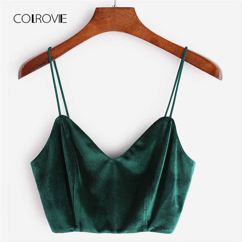 2e163a0efe7fe2 COLROVIE Zip Back Velvet Cami Top 2018 Summer V Neck Zipper Party Women Tank  Top Clothing