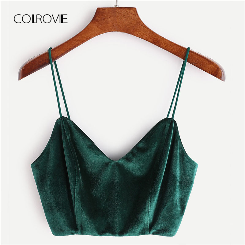 COLROVIE Zip Back Velvet Cami Top 2018 Summer V Neck Zipper Party Women Tank Top Clothing New Green Spaghetti Strap Crop Top