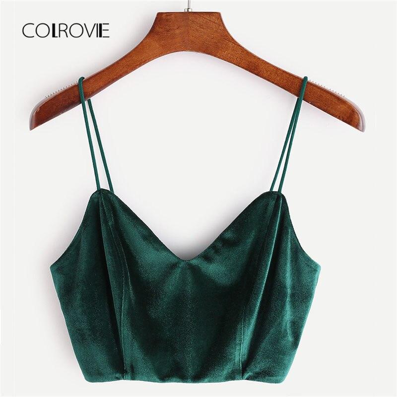 COLROVIE Zip Back Velvet Cami Top 2018 verano V cuello cremallera fiesta mujeres Tank Top ropa nueva verde Spaghetti Strap Crop Top
