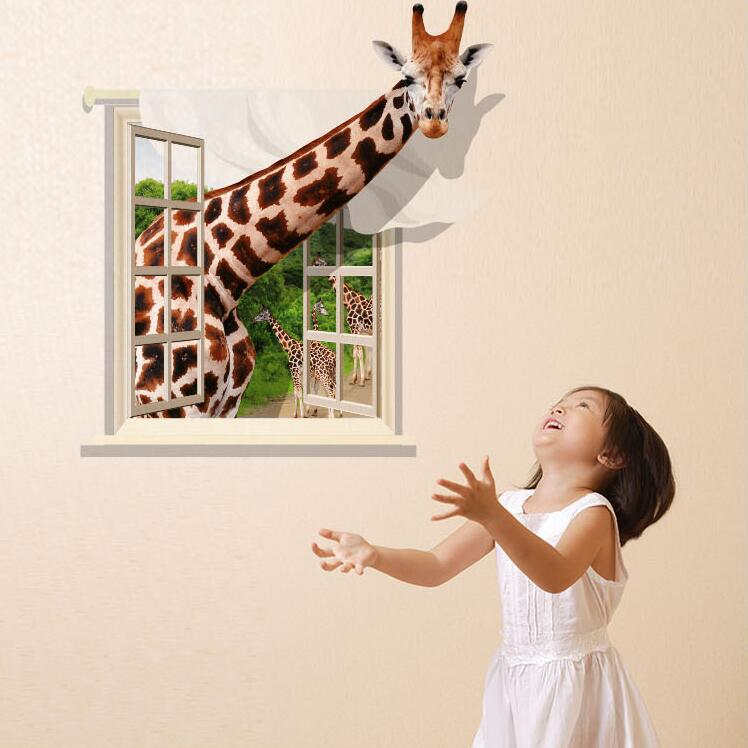 Free Shipping 3 D Wall Stickers Home Decor Living Room For Baby Rooms Children Boy Creative Lifelike Giraffe DIY Stickers Muraux
