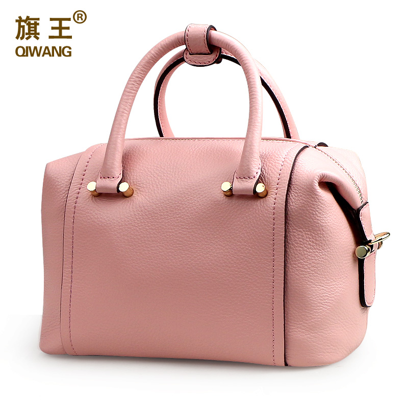 QIWANG Soft Pink Leather Bag Women Luxury Leather Top Handle Handbag Women Designer Purse Boston Bag Purse mini quilted luggage chain bag women s 2018 fashion designer quilting stitched plaided top handle shoulder bag purse handbag