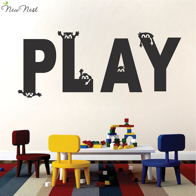 New Nest Cartoon play vinyl wall decal, children\'s playroom wall ...