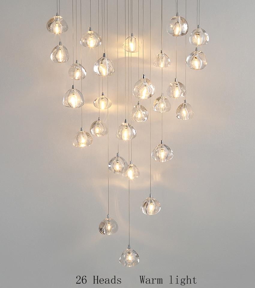 Современные светодиодные подвесные светильники, Хрустальная Подвесная лампа, составная лестница для зала, длинная лестница для гостиной, Подвесная лампа, освещение