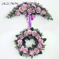 JAROWN Artificial Wreath Threshold Flower Simulation Silk French Rose Floral Garland Wedding Party Decor Home Office Door Flores