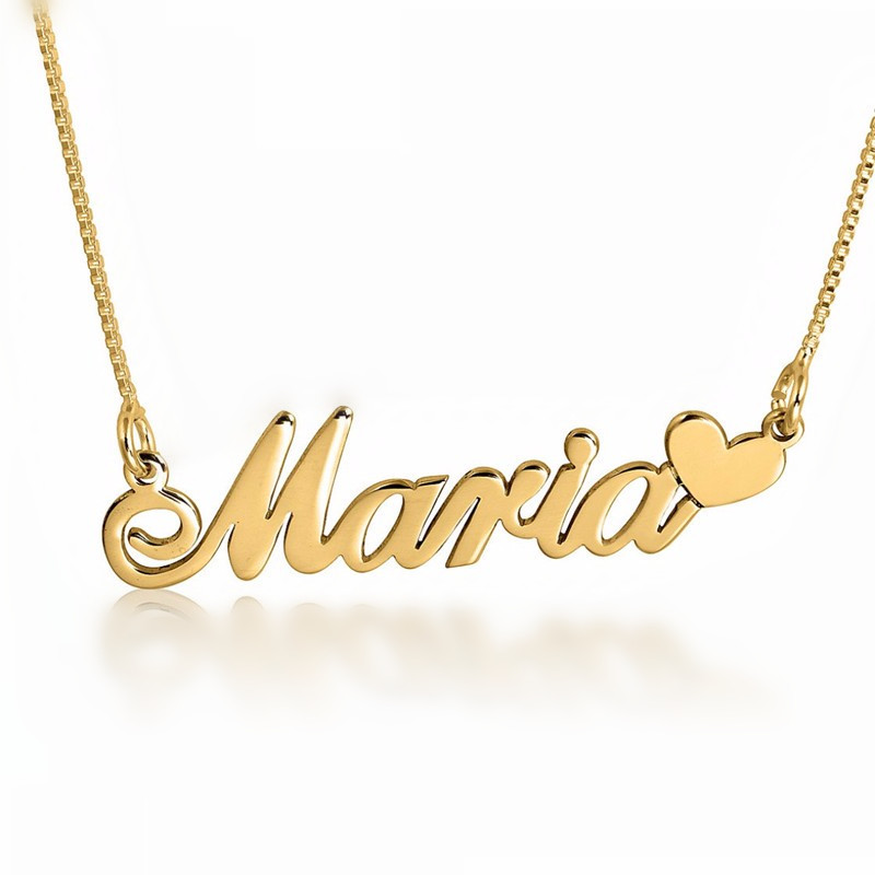 Wholesale Gold Color Name Necklace Personalized Love Letter Pendant Silver Necklace Box Chain Solid Nameplate Jewelry цены онлайн