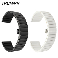 Full Ceramic Watchband 20mm 22mm Universal Watch Band Porcelain Strap Steel Butterfly Buckle Belt Wrist Bracelet Black White