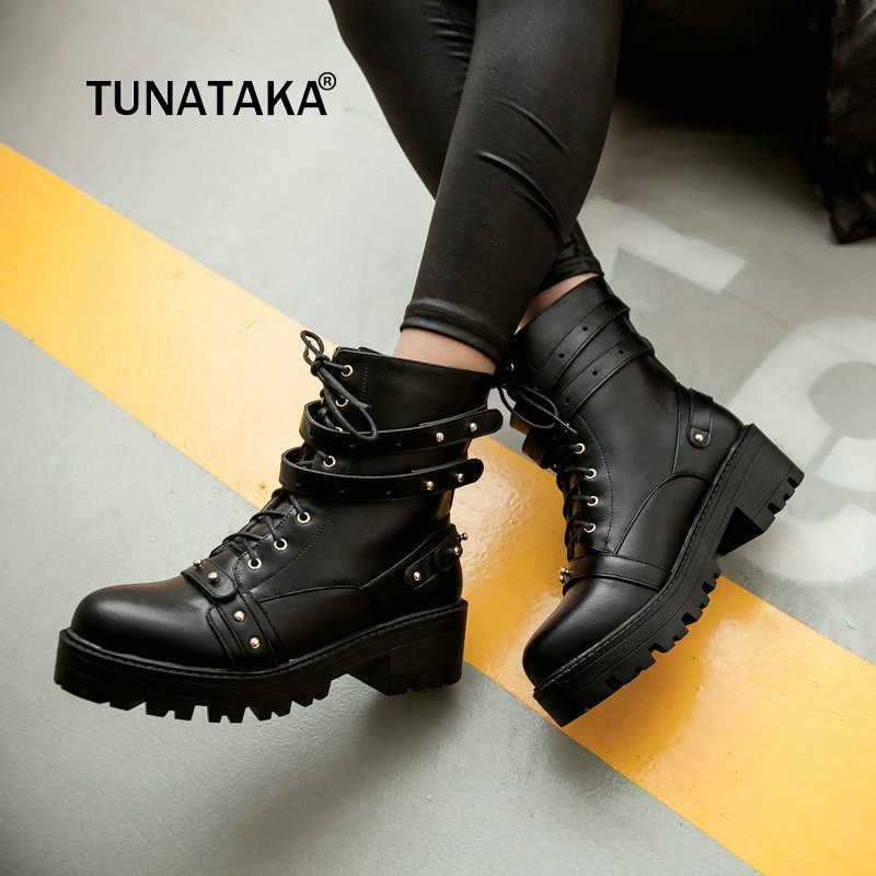Lace Up Platfom Thick High Heel Ankle Boots Fashion Round Toe Riding Equestrian Shoes Woman Black Brown front lace up casual ankle boots autumn vintage brown new booties flat genuine leather suede shoes round toe fall female fashion