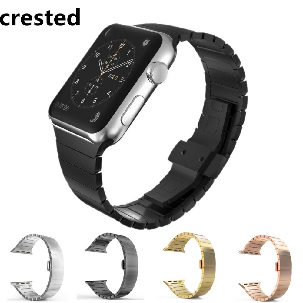 цена CRESTED butterfly loop strap For Apple watch band 42mm 38mm stainless steel iwatch 3 2 1 Link bracelet wristband watchband belt
