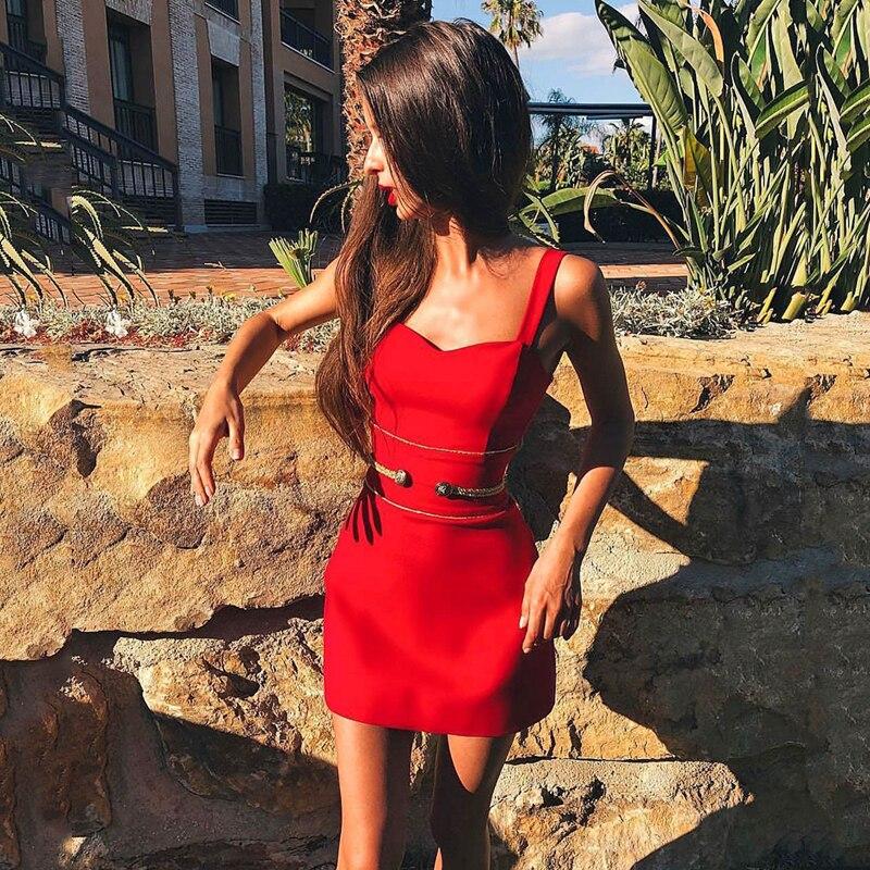 Sangle Manches Dos Nu Robes Gland Rouge 2019 D'été Club Moulante Red Femmes De Parti Nouvelles Spaghetti Sans Bandage Gosexy Robe BY7zqqw