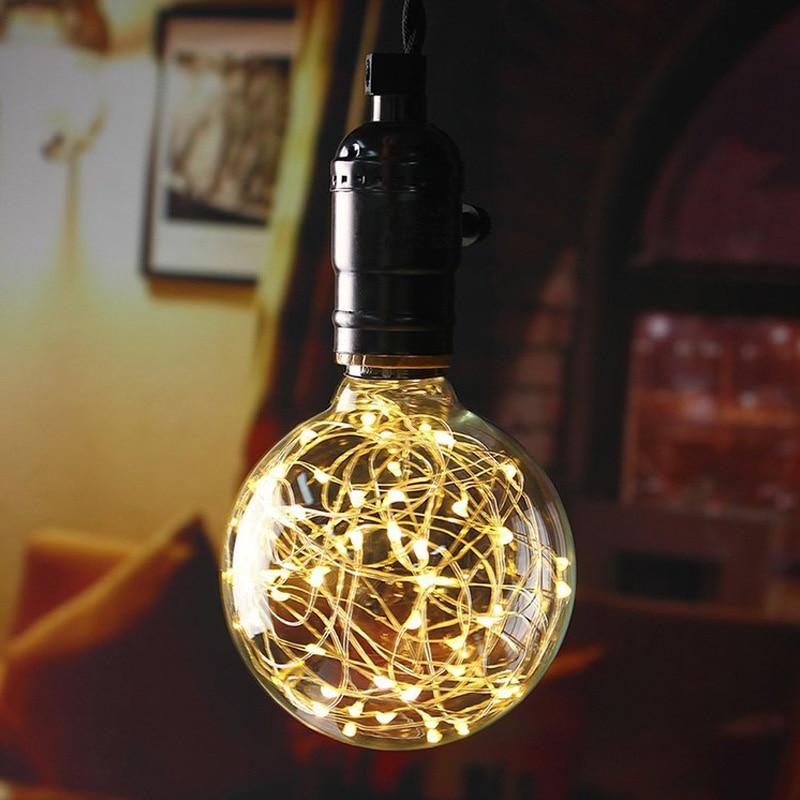 Vintage Art Decoration Pendant Light Bulb Edison LED Silver Wire Filament Lamp  220V E27  LED String Light Bulbs