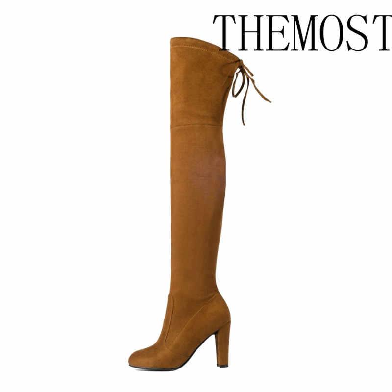 ARQA Top Faux daim femmes cuissardes bottes Stretch Slim Sexy mode sur le genou bottes femme chaussures talons hauts noir gris