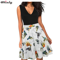 Oxiuly Women 2017 Deep V Neck Sexy Boho Summer Party Mini Dress Floral Casual Natural Beach