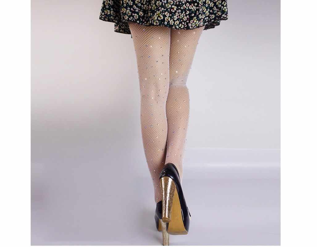 ผู้หญิงเซ็กซี่ถุงน่องคริสตัล Rhinestone Fishnet Pantyhose ผู้หญิง Tights Femme สวมใส่ 4 สี