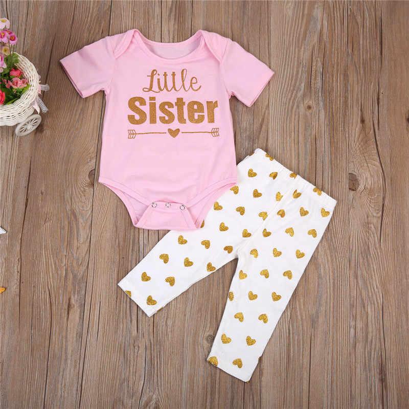 2019 Yenidoğan Bebek Kız Kız Kardeş Eşleşen Romper t-shirt + Pantolon Tayt kıyafet setleri