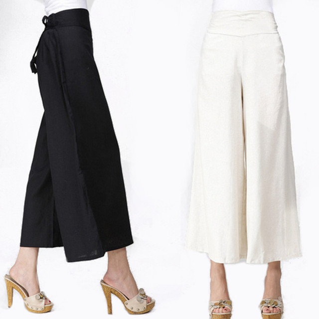 White Linen Pants Summer Women Long Wide Trousers Plus Size Black