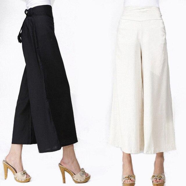 Wide Leg Pants Women White Linen Pants Long Trousers Plus Size Black Dress Pants Casual Drawstring Trousers Loose Harem Pants