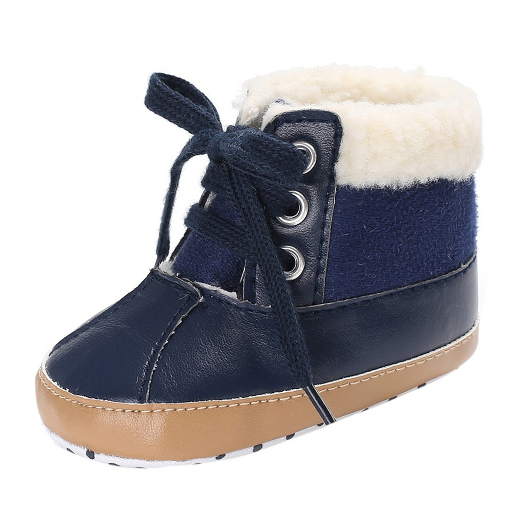 Newborn Baby Toddler Boys Warm Ankle Snow Boots Crib Lace-Up PU Shoes Anti-slip Sneakers Blue Black Gray Winter Keep Warm Shoes