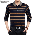 New Business Casual Mens T Shirts Fashion High-grade Stripe Slim Fit Long Sleeve T Shirt Mens Clothing Turn-down Collar T-Shirt