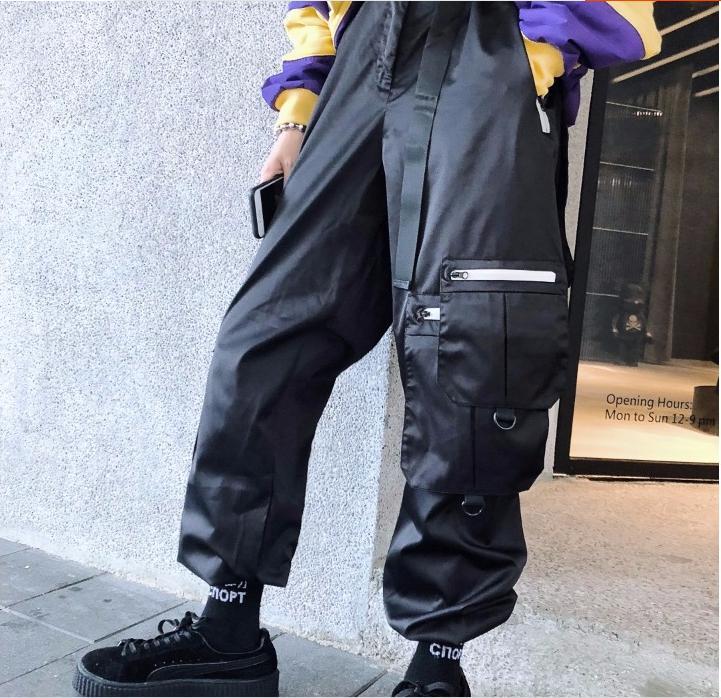 Empalme Bolsillos Guo Hip gris Múltiples Casuales Hebilla Chao Negro hop Cintura De Apriete Pantalones z0zrU5qw