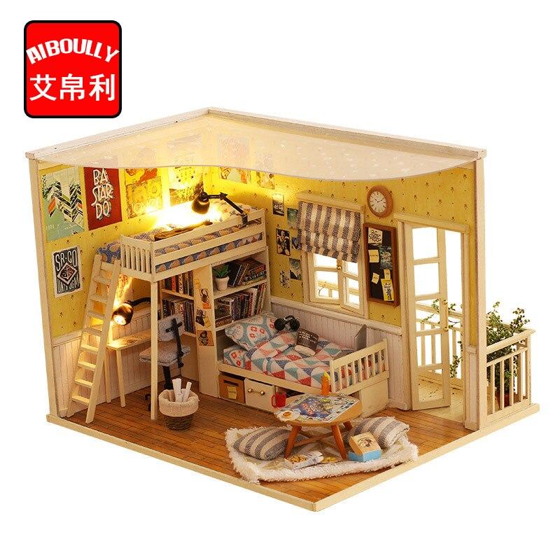 Chambre chaude bricolage Kit maison de poupée en bois Miniature avec meubles maison de poupée chambre ange rêve meilleur cadeau d'anniversaire pour les filles