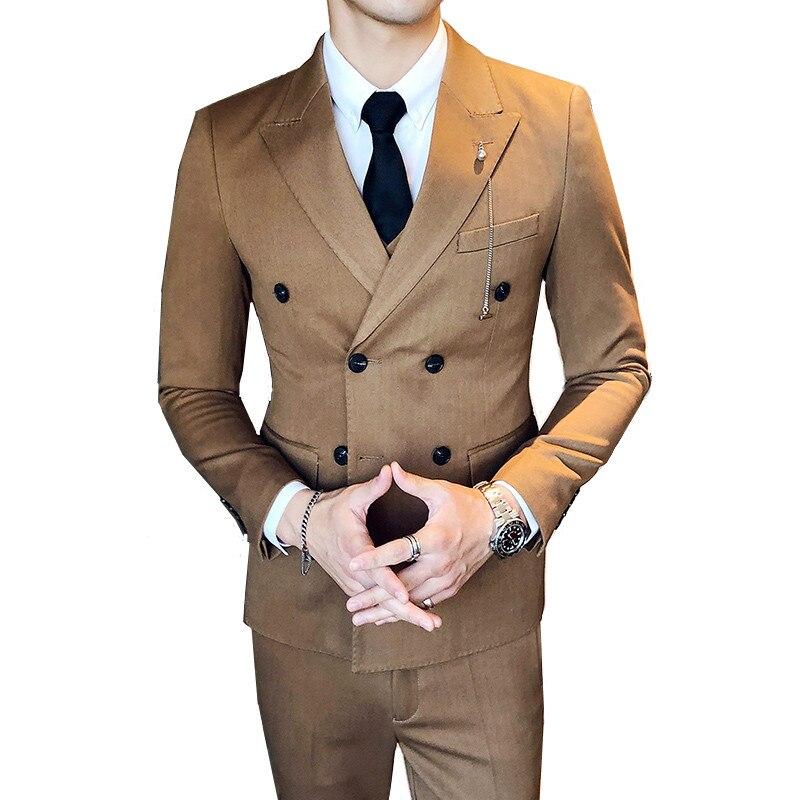 British Style Men's Banquet Business Solid Color Blazer (Suit Jacket+Pants+Vest) High-End Slim Double-Breasted Men's Suit 3 Sets