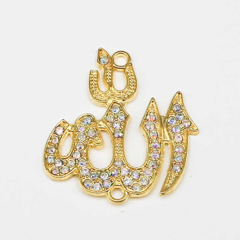 6PCS Oro Religione Musulmano Islam Allah Fascino Del Pendente Del Rhinestone Del Braccialetto FAI DA TE Monili Che Fanno Handmade di Miscela