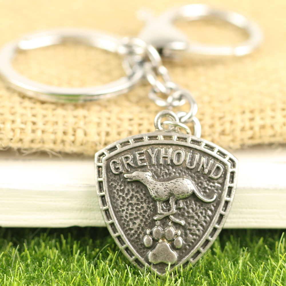 A 256 Pet Greyhound Keychain Grey Hound Jewelry Metal Racing Dog Key Chains Antique Silver Pet Memorial Key Rings