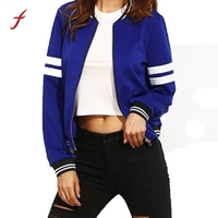 2017 Fashion Slim Coat Jacket Women S Bomb Jackets Zipper O Neck Long Sleeve Coat
