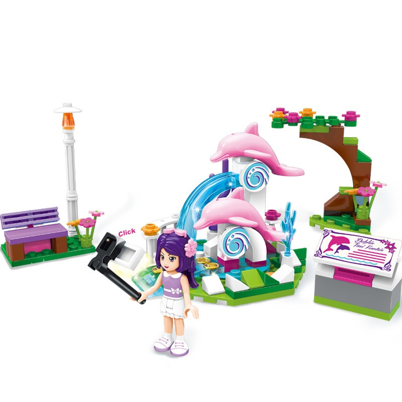 ENLIGHTEN City Girls Dolphin wishing pool Building Blocks Sets Bricks Model Kids Gift Princess Toys Compatible Legoe Friends