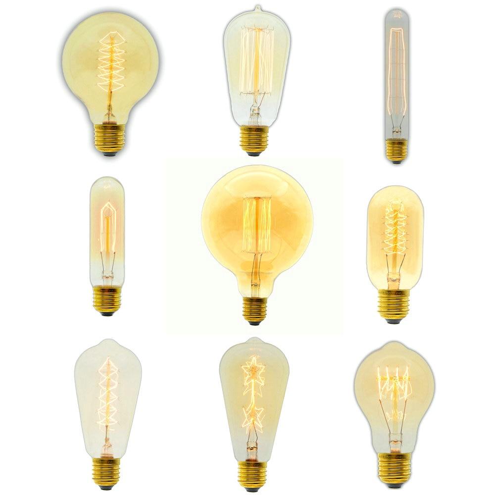 40W/60W 220V E27 Edison Light Bulb Carbon Filament Edison Retro Vintage Incandescent Bulb ST64/ST58/A19/T45/G80/G95/G125/T300 vintage edison bulb g80 g95 st64 e27 220v 40w retro lamp vintage light bulb edison lamp incandescent light decor filament